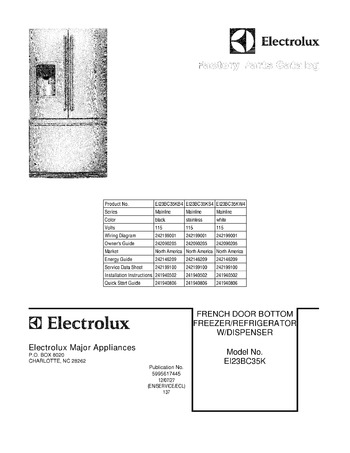Electrolux 241964705 Tube-Water