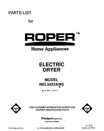 WHIRLPOOL ROPER DRYER START KNOB PART # 3391829